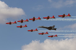 #5492 Swiss Air Force (PC-7 Team) - PC-7s in formation with F/A-18C