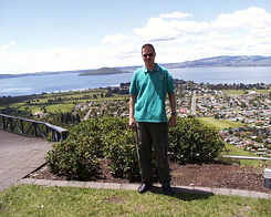 #621 Matthijs with in the background Lake Rotorua & Mokoia Island (New Zealand)