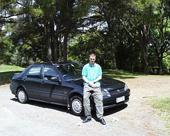 #623 Matthijs with rented car (Honda Domani) - New Zealand