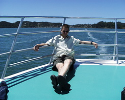 #637 Matthijs on the prow - Bay of Islands Cruise (New Zealand)