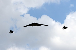 #5379 US Air Force - Northrop B-2 escorted by two McDonnell Douglas F-15E