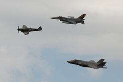 #5716 Royal Netherlands Air Force - F-35 and F-16 and Spitfire formation