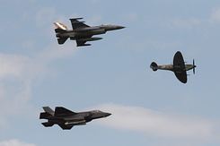 #5717 Royal Netherlands Air Force - F-35 and F-16 and Spitfire formation