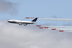#6182 British Airways - Boeing 747 in formation with RAF Red Arrows